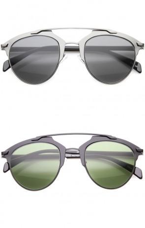 Modern Fashion Metallic Frame Double Bridge Pantos Aviator Sunglasses 50mm
