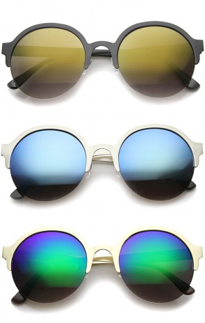 Modern Metal Half-Frame Color Mirrored Lens Round Sunglasses 55mm