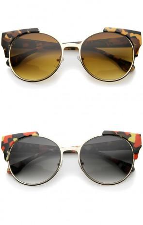 Modern Semi-Rimless Corner Horn Rimmed Round Sunglasses 53mm