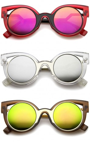 High Fashion Translucent Frame Stepped Temple Two-Tone Cat Eye Sunglasses