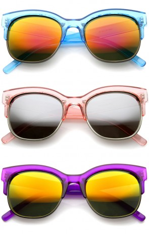 Bold Colorful Half-Frame Two-Toned Inset Mirrored Lens Horn Rimmed Sunglasses