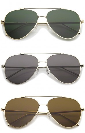 Classic Large Teardrop Crossbar Flat Lens Aviator Sunglasses 60mm