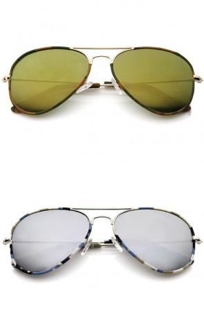 Camouflage Print Fabric Teardrop Shape Lens Aviator Sunglasses 60mm