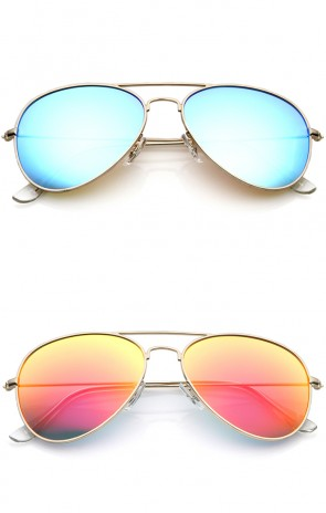 Premium Nickel Plated Frame Multi-Coated Mirror Lens Aviator Sunglasses 59mm