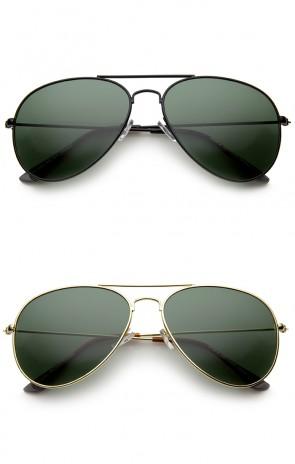 Classic Brow Bar Full Metal Frame Green Lens Aviator Sunglasses 60mm