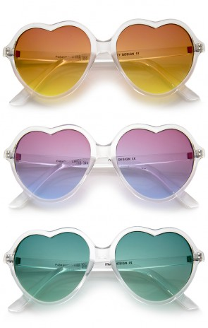 Women's Translucent Frame Gradient Color Lens Heart Sunglasses 56mm