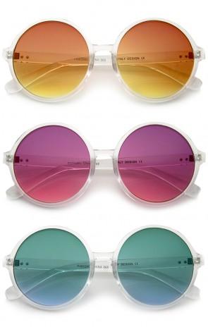 Retro Translucent Frame Colorful Gradient Lens Round Sunglasses 55mm