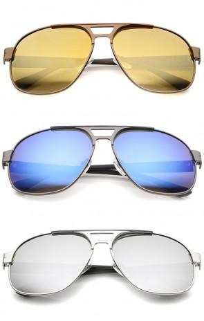 Modern Flat Top Crossbar Mirror Lens Metal Square Aviator Sunglasses 59mm