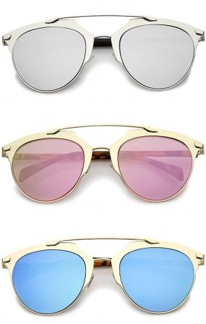 Modern Fashion Metallic Frame Color Mirrored Lens Pantos Aviator Sunglasses