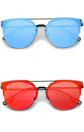 Modern Fashion Minimalist Wire Temple Rimless Color Mirror Lens Pantos Metal Sunglasses 58mm