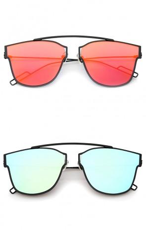 Modern Flash Mirror Lens Ultra Thin Open Metal Minimal Pantos Aviator Sunglasses 59mm