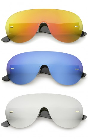 Futuristic Rimless Frame Mono Lens Aviator Shield Sunglasses 71mm