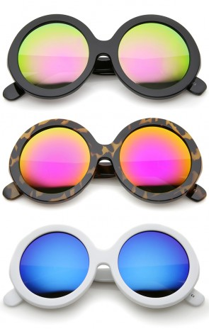 Jackie O Chunky Frame Color Mirror Lens Oversize Round Sunglasses 53mm
