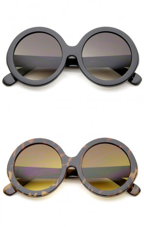 Retro Chunky Frame Tinted Lens Oversize Round Sunglasses 53mm