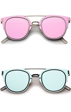 Modern Fashion Minimal Wire Temple Inner-Rimmed Color Mirror Lens Pantos Metal Sunglasses 58mm