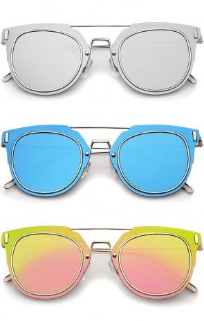 Modern Ultra Slim Wire Frame Mirrored Flat Lens Pantos Sunglasses 58mm
