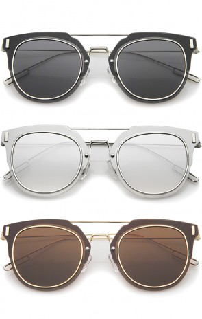 Minimal Ultra Thin Wire Frame Inner Rim Flat Lens Pantos Sunglasses 58mm