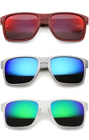 Mens Action Sports Skater Surfer Rectangle Mirrored Lens Sunglasses 55mm