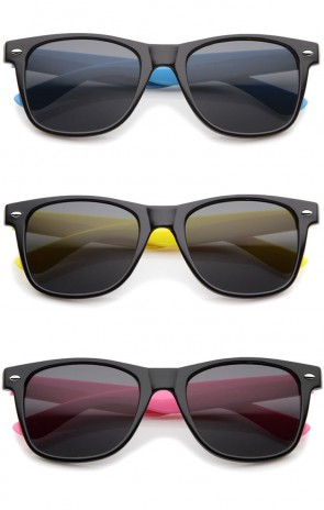 Classic Retro Two-Toned Neon Color Temple Horn Rimmed Sunglasses 54mm