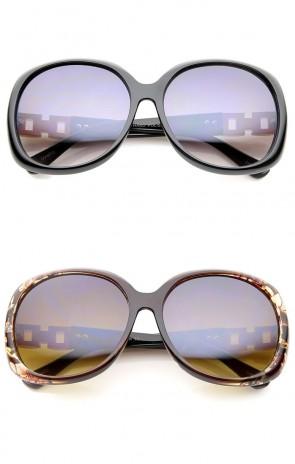 Women's Chain And Rhinestone Temple Round Oversize Sunglasses 60mm