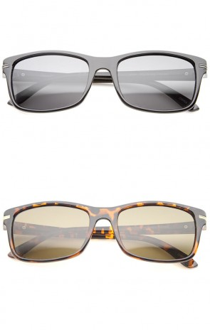 Casual Metal Temple Accent Polarized Lens Rectangle Sunglasses 55mm