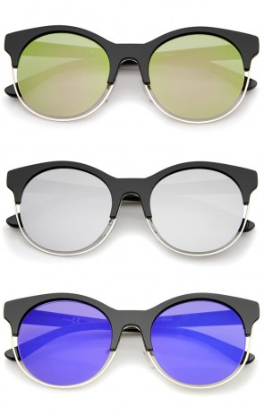 Half Frame Metal Trim Colored Mirror Round Cat Eye Sunglasses 53mm