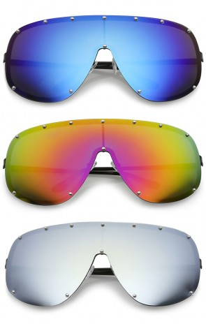Futuristic Oversize Rimless Colored Mirrored Mono Lens Shield Sunglasses 75mm