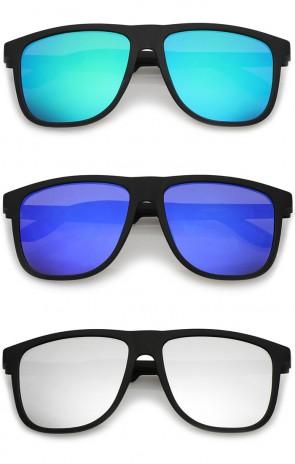 Lifestyle Rubberized Matte Flat Top Colored Mirror Square Sunglasses 55mm