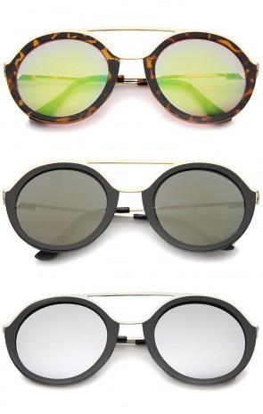 Modern Metal Double Nose Bridge Colored Mirror Lens Round Sunglasses 52mm