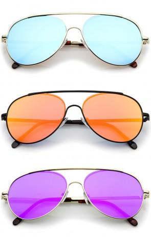 Classic Brow Bar Semi-Rimless Colored Mirror Lens Aviator Sunglasses 57mm