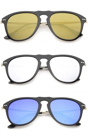 Modern Keyhole Bridge Horn Rimmed Colored Mirror Lens Aviator Sunglasses 53mm