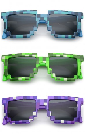 Retro Novelty Party Pixelated Print Square Lens Sunglasses 50mm