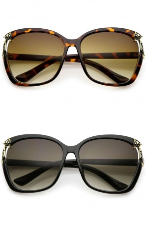 Women's Oversize Metal Fox Accent Cutout Square Sunglasses 60mm