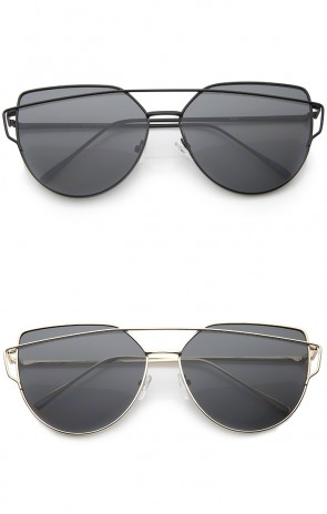 Oversize Metal Frame Thin Temple Flat Lens Aviator Sunglasses 62mm