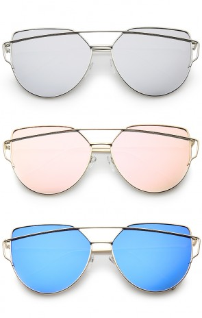 Oversize Metal Frame Thin Temple Color Mirror Flat Lens Aviator Sunglasses 62mm