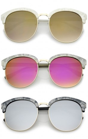 Oversize Metallic Horn Rimmed Colored Mirror Lens Half-Frame Sunglasses 58mm