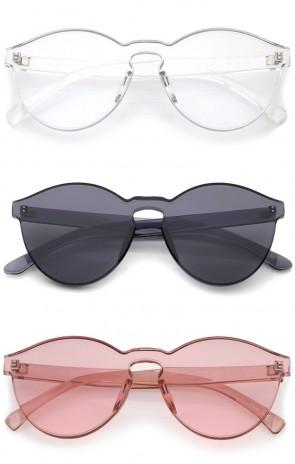 One Piece PC Lens Rimless Ultra-Bold Colorful Mono Block Sunglasses 60mm