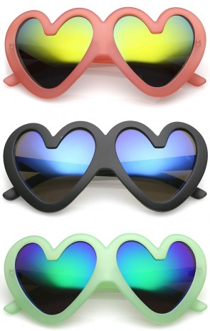 Cute Oversize Matte Finish Colored Mirror Lens Heart Sunglasses 55mm