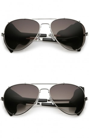 Steampunk Metal Crossbar Faux Leather Side Cover Gradient Lens Aviator Sunglasses 58mm