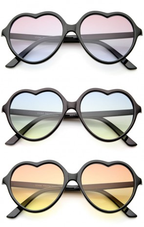 Women's Black Frame Colored Gradient Lens Heart Sunglasses 56mm