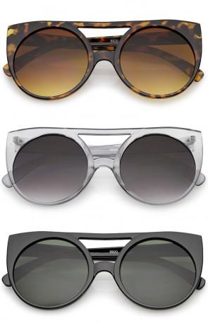 Women's Flat Top Cutout Round Lens Oversize Cat Eye Sunglasses 52mm