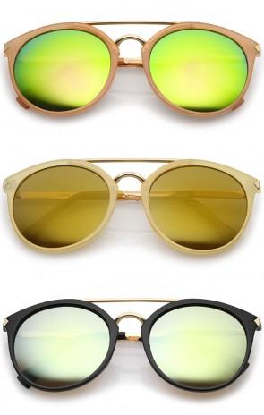 Modern Double Bridge Colored Mirror Lens Round Aviator Sunglasses 57mm