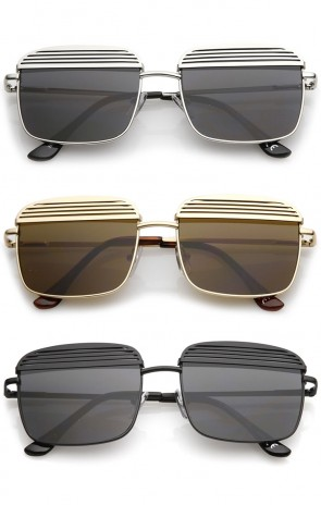 Modern Ultra Slim Arms Metal Cover Super Flat Lens Square Sunglasses 53mm