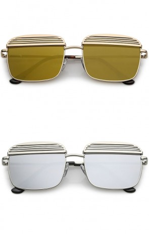 Modern Ultra Slim Arms Metal Cover Mirrored Flat Lens Square Sunglasses 53mm