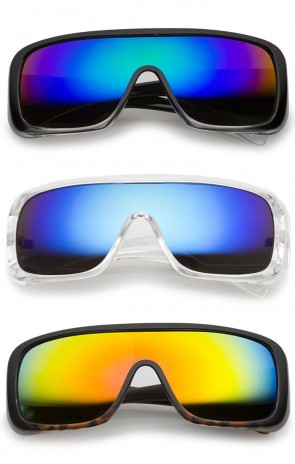 Men's Oversize Goggle Flat Top Mirror Mono Lens Shield Sunglasses 60mm