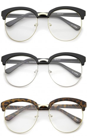 Oversized Flat Clear Lens Half Frame Semi-Rimless Round Glasses 58mm