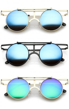 Steampunk Flip Up Cover Flat Top Colored Mirror Clear Lens Round Sunglasses 44mm