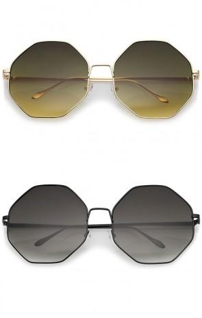 Oversize Metal Frame Slim Temple Gradient Lens Hexagon Sunglasses 63mm
