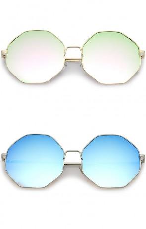 Oversize Metal Frame Slim Temple Colored Mirror Lens Hexagon Sunglasses 63mm
