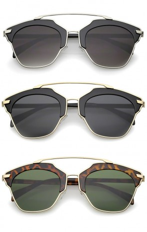 High Fashion Two-Toned Pantos Crossbar Neutral-Colored Lens Aviator Sunglasses 52mm